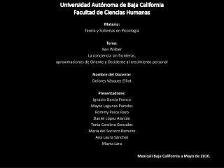 Universidad Aut noma de Baja California Facultad de Ciencias Humanas
