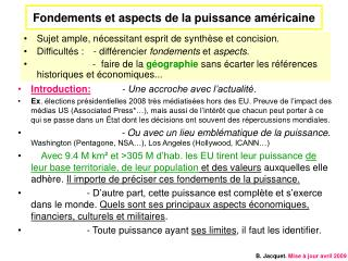 Fondements et aspects de la puissance am ricaine