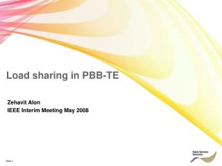 Load sharing in PBB-TE