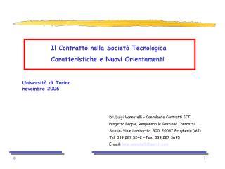 Il Contratto nella Societ  Tecnologica Caratteristiche e Nuovi Orientamenti