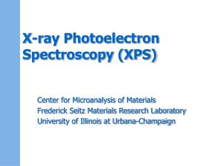 X-ray Photoelectron Spectroscopy XPS