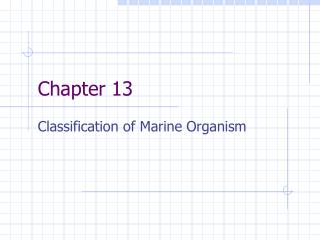 Classification of Marine Organism