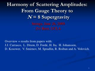 Harmony of Scattering Amplitudes: From Gauge Theory to   N  8 Supergravity
