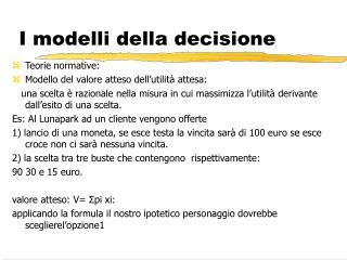 I modelli della decisione