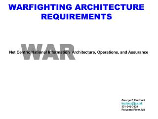 WARFIGHTING ARCHITECTURE  REQUIREMENTS