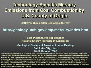 Jeffrey C Quick, Utah Geological Survey   geology.utah