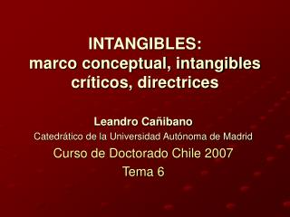 INTANGIBLES: marco conceptual, intangibles cr ticos, directrices