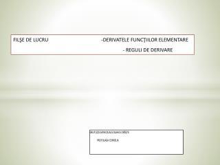 FILSE DE LUCRU                                          -DERIVATELE FUNCTIILOR ELEMENTARE