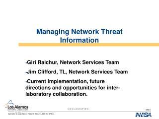 Managing Network Threat Information