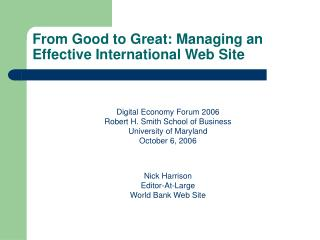 From Good to Great: Managing an Effective International Web Site