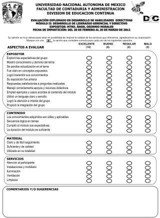 UNIVERSIDAD NACIONAL AUTONOMA DE MEXICO FACULTAD DE CONTADURIA Y ADMINISTRACION DIVISION DE EDUCACION CONTINUA