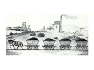 Eine der ersten Pferdeeisenbahnen  auf  einem englischen Kohlenbergwerk, um 1767. Die Wagen haben keine Bremseinrichtung