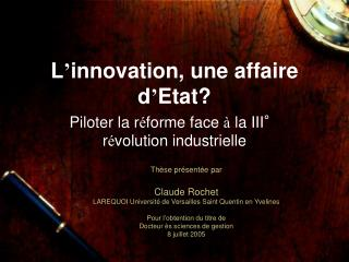 L innovation, une affaire d Etat