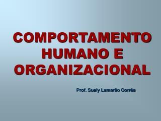 COMPORTAMENTO HUMANO E ORGANIZACIONAL