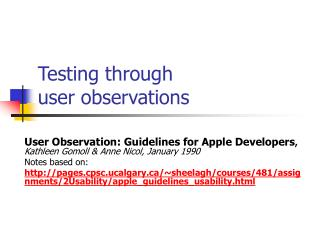 Testing through  user observations