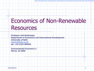 Economics of Non-Renewable Resources