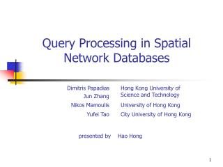 Query Processing in Spatial Network Databases