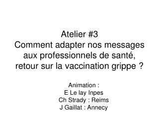 Atelier 3 Comment adapter nos messages aux professionnels de sant , retour sur la vaccination grippe