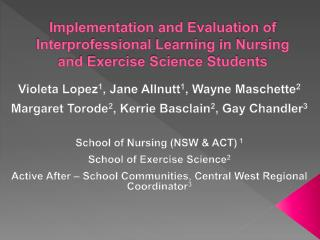 Implementation and Evaluation of Interprofessional Learning in Nursing and Exercise Science Students