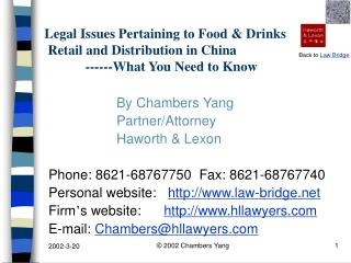 Legal Issues Pertaining to Food  Drinks  Retail and Distribution in China             ------What You Need to Know