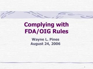 Complying with  FDA