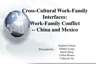 Cross-Cultural Work-Family Interfaces:  Work-Family Conflict  -- China and Mexico