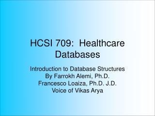 HCSI 709:  Healthcare Databases