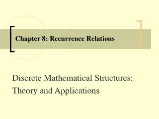 Chapter 8: Recurrence Relations