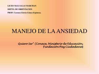 MANEJO DE LA ANSIEDAD