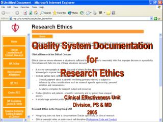Quality System Documentation  for Research Ethics    Clinical Effectiveness Unit Division, PS  MD  2005