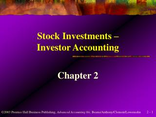 Stock Investments   Investor Accounting