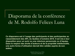 Rodolfo Felices Luna, Ph.D.                                          Universit  de Sherbrooke