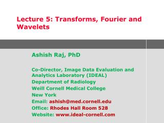 Ashish Raj, PhD  Co-Director, Image Data Evaluation and Analytics Laboratory IDEAL Department of Radiology Weill Cornell