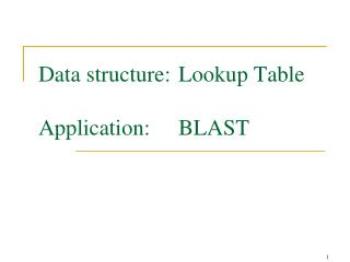 Data structure: Lookup Table  Application: BLAST