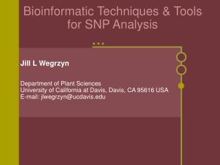 Bioinformatic Techniques  Tools for SNP Analysis