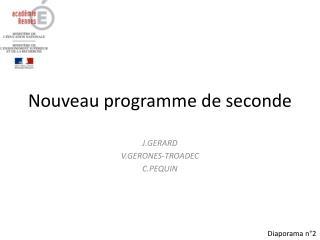 Nouveau programme de seconde