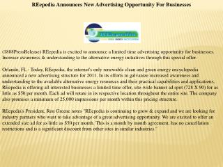 REepedia Announces New Advertising Opportunity For Businesse