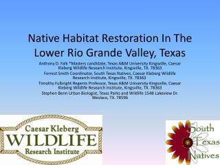 Native Habitat Restoration In The Lower Rio Grande Valley, Texas