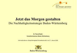 Jetzt das Morgen gestalten Die Nachhaltigkeitsstrategie Baden-W rttemberg