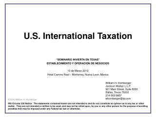U.S. International Taxation