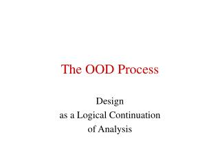 The OOD Process