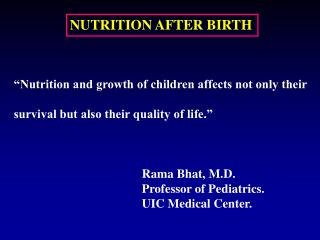 NUTRITION AFTER BIRTH