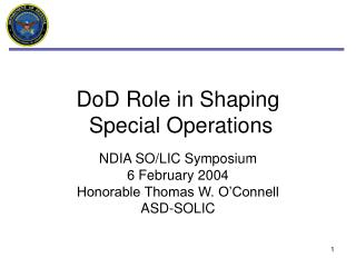 DoD Role in Shaping  Special Operations