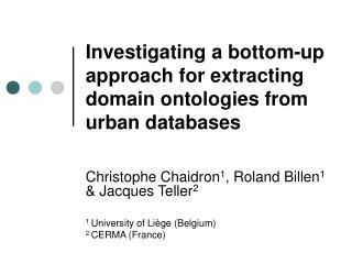 Investigating a bottom-up approach for extracting domain ontologies from urban databases