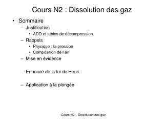 Cours N2 : Dissolution des gaz