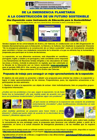 Patr cia S , Amparo Vilches, Jo o Praia y Daniel Gil-P rez. Universidade de Aveiro y Universitat de Val ncia