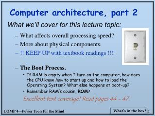 Computer architecture, part 2