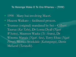 Te Herenga Waka O Te Ora Whanau   THW