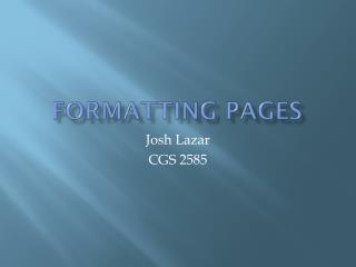Formatting Pages