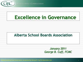 Excellence in Governance